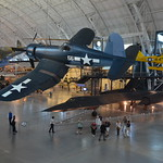 Steven F. Udvar-Hazy Center: Vought F4U-1D Corsair, with P-40 Warhawk and SR-71 Blackbird in background
