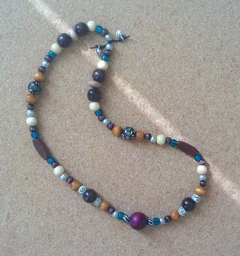 Plum Nuts (Necklace with Wooden and Glass Beads) by randubnick