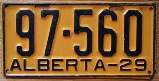 ALBERTA 1929 license plate
