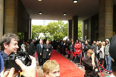 The Red Carpet at Ryerson University buzzes with activity awaiting the Arrival of Paris Hilton for the Tiff '08 Premiere of her new movie, Paris, Not France  Photo by Chris Harte Photography  Find deployment information regarding this photo activation project in Chris' Portfolio  Information on Chris Harte is available Here