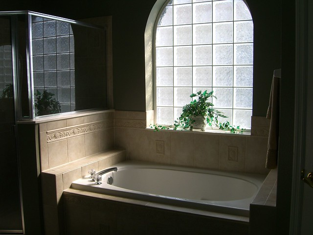 Master Bath with Roman Tub and Glass Block Window, Oversized ...
