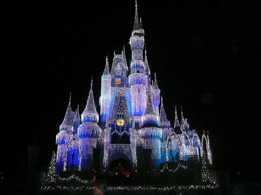 Cinderella castle at christmas magic kingdom walt disney world 2008