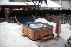 backyard, swimming pool, snow, hot tub, jacuzzi, cottage,