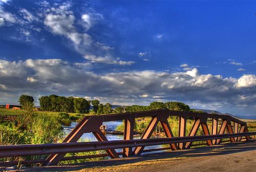 ranch bridge blue light sky water clouds creek river landscape colorado shadows farm steel pony crg hdr bridging truss antonito photomatix bridgepixing bridgepix 200806 countyroadg riosanantonito