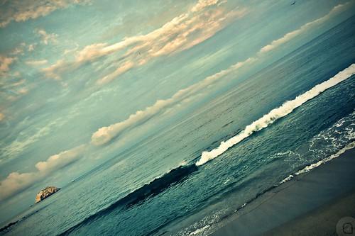 ocean rock vertical clouds sunrise pacific crossprocess horizon line mazatlan sinaloa angelortega angelferd