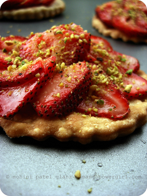 Strawberries on pastry Biscuits
