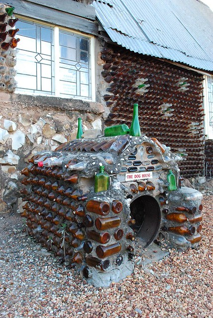 Dog house made from recycled bottles