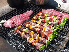 meal(0.0), produce(0.0), outdoor grill(1.0), grilling(1.0), barbecue(1.0), yakiniku(1.0), brochette(1.0), meat(1.0), churrasco food(1.0), food(1.0), dish(1.0), shashlik(1.0), kebab(1.0), cuisine(1.0), barbecue grill(1.0), cooking(1.0), skewer(1.0), grilled food(1.0),