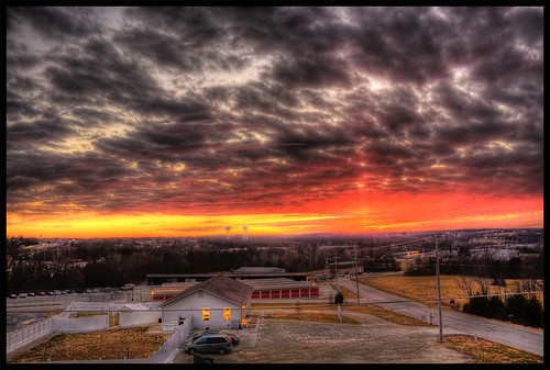 city sunset red sky house cars yellow photoshop canon rebel amber town washington midwest union missouri 1855mm ozarks hdr highdynamicrange xsi cs3 3xp photomatix explored tonemap 450d vipveryimportantphotos