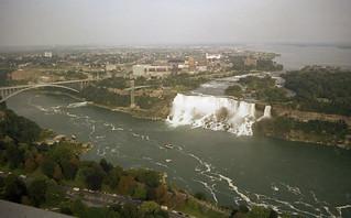 Niagara American Falls and the Rainbow Bridge from the Skylon Tower 1981