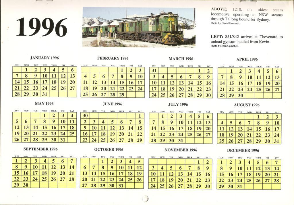 1996atc0015year Calendar Page 1996 Australian Trains Calen Flickr