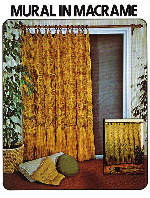 mural in macrame long drape macrame window dressings 1979. Black Bedroom Furniture Sets. Home Design Ideas