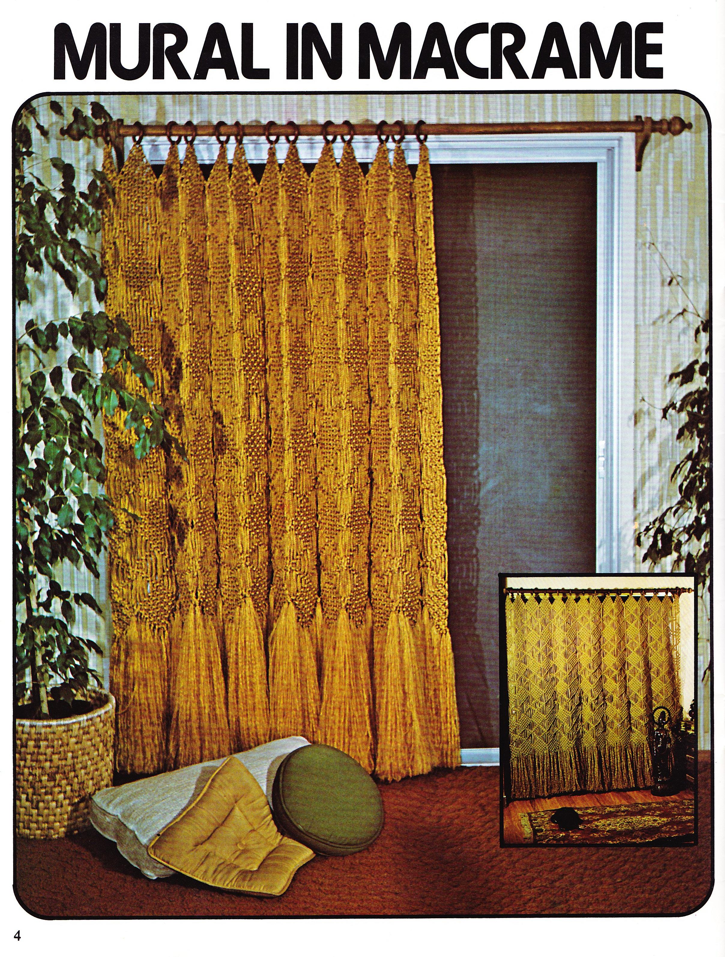 mural in macrame long drape macrame window dressings 1979 flickr photo sharing. Black Bedroom Furniture Sets. Home Design Ideas