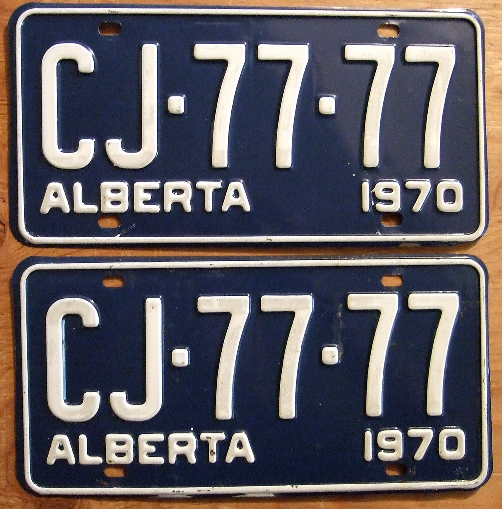 alberta 1970 license plate pair cool number 7777 flickr photo sharing. Black Bedroom Furniture Sets. Home Design Ideas