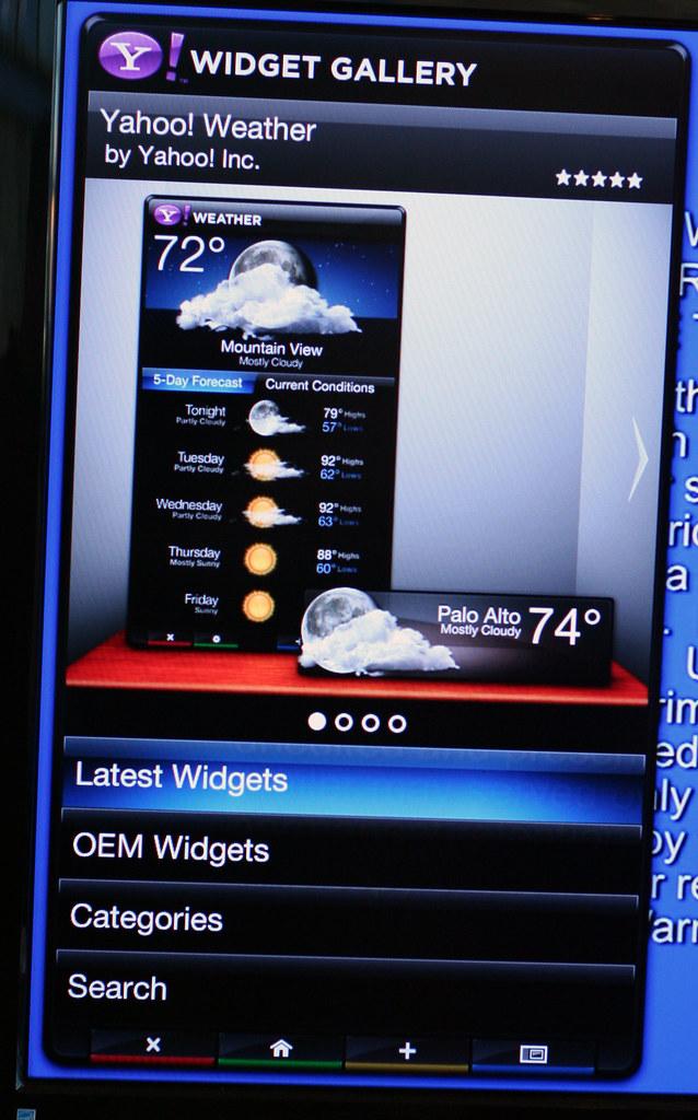 Yahoo! Widget Gallery home screen
