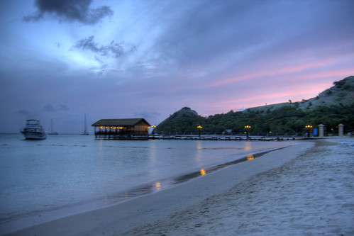 Sandals Grand St Lucia Beach at Night