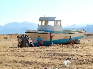 Boat in the desert