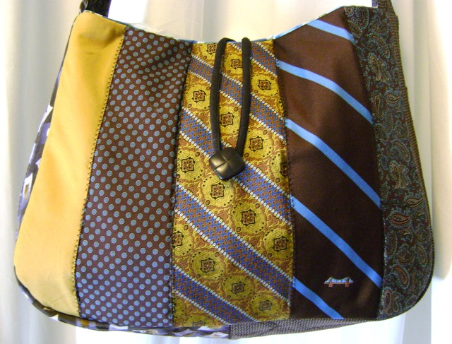 Queen of the Surface Streets - Recycled Necktie Messenger Bag