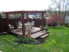 American foursquare loving the floating deck for How much to build a floating deck