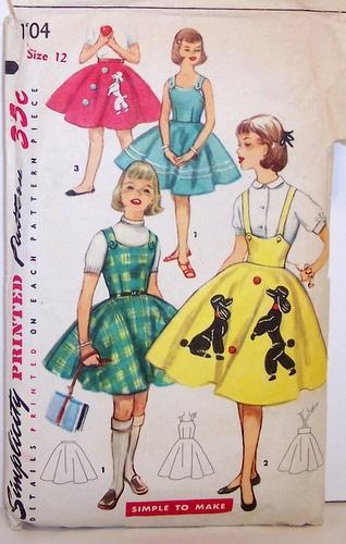 Vintage Simplicity Pattern 1704 Full Poodle Skirt Rockabilly Dress Jumper 50's 50s Size 12 Girls