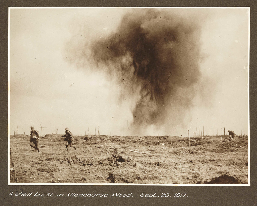 A shell burst in Glencourse Wood. Sept 20 1917
