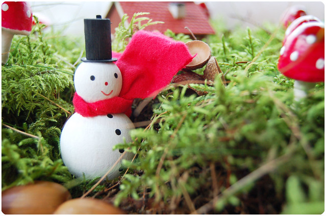Mr Snowman visiting in Mushroom Land, made by iHanna
