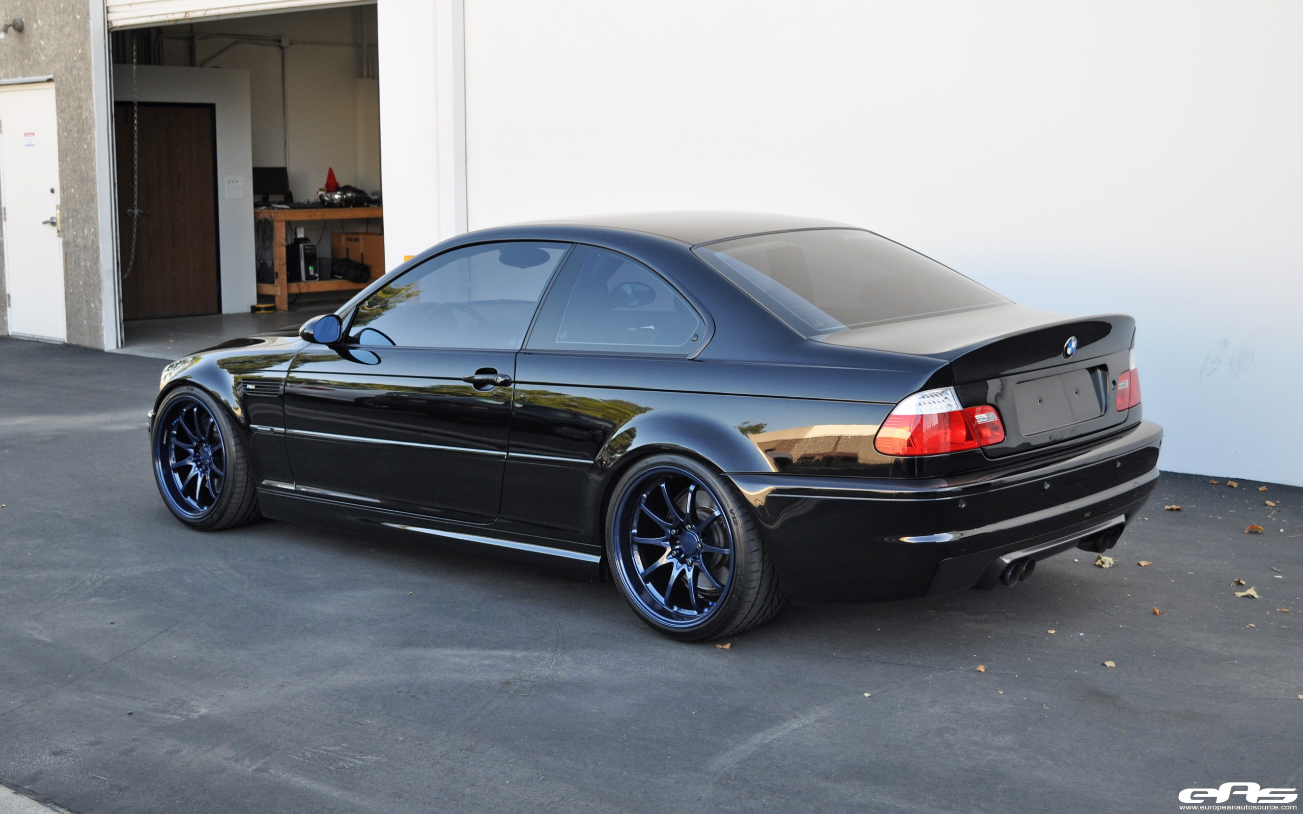 Black E46 M3 With Magnesium Blue Volk CE28 Wheels BMW