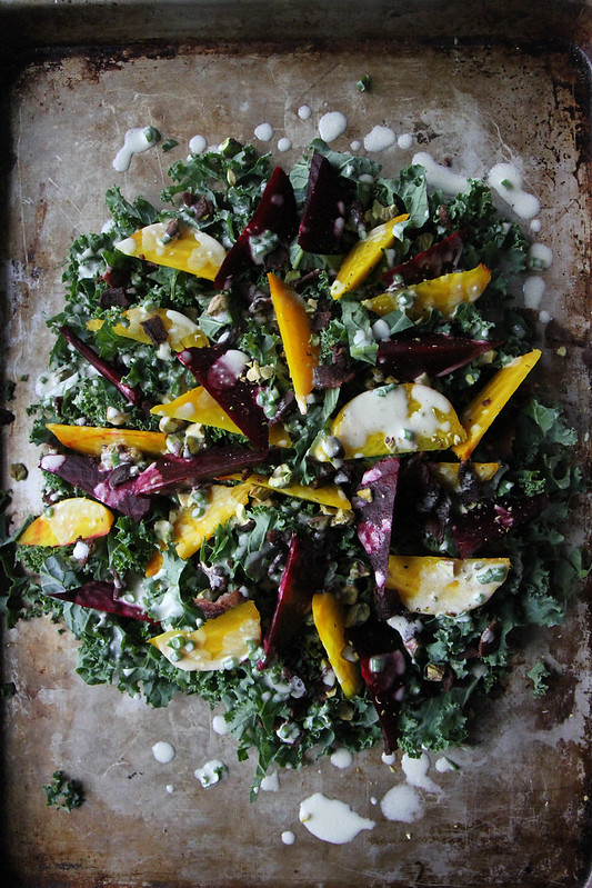 Kale, Beet and Bacon Salad with Goat Cheese Vinaigrette   Heather ...