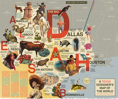 Texas Designer's Map of the World by DJ Stout  - pentagram