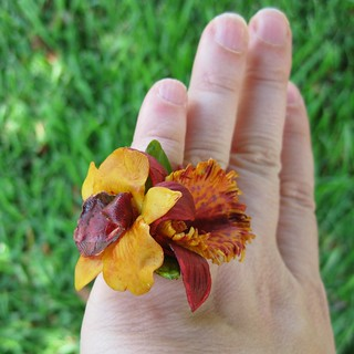RedAndYellowMiniOrchids Ring 14