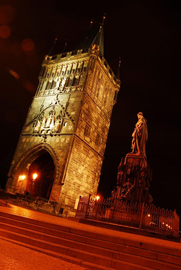 tower near charles bridge at night