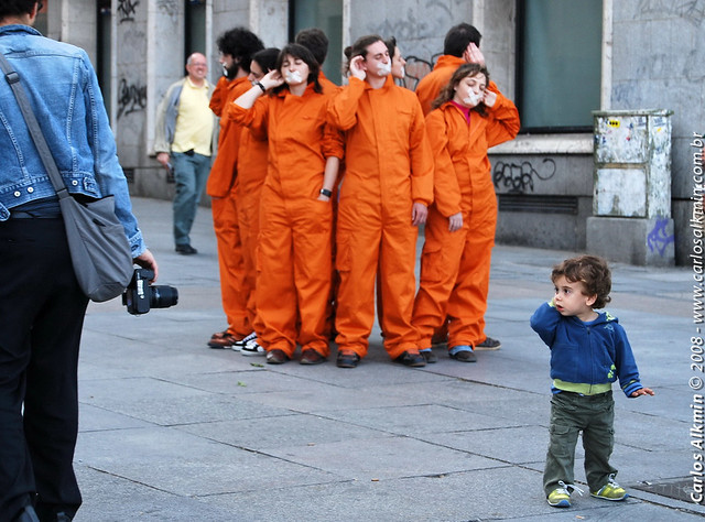 Greenpeace activists and kid - Madrid - Spain