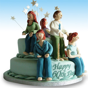 Family 60th Birthday Cake & 60TH BIRTHDAY CAKE DECORATING IDEAS - 60TH BIRTHDAY CAKE