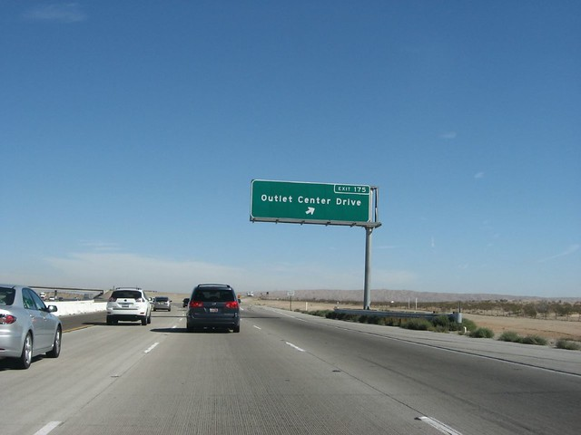 Exit 175, Outlet Center Drive, Interstate 15 Northbound, California