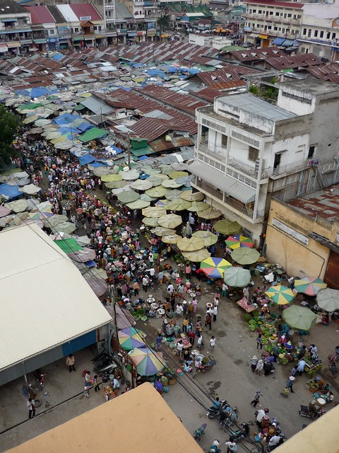 Phnom Penh street market from above