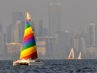 Sailboats & Bright Colored Catamaran Lit Up By Falling Sun Against Hazy Florida Weather Fogging Miami Skyline - IMRAN™ —20,000+ Views! 100+ Comments, 100+ Favorites!