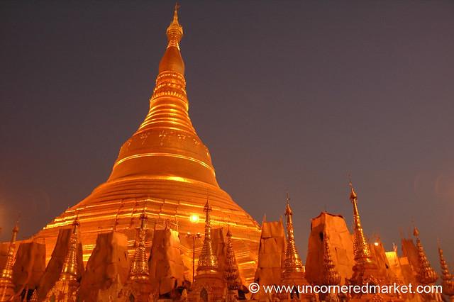 Shwedagon Pagoda at Night - Rangoon, Burma (Yangon, Myanmar)