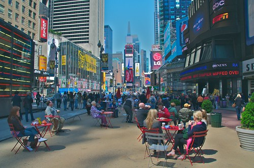 A great place for lunch in NYC: Times Square, looking north from 42nd Street