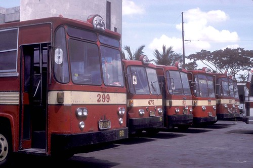 Philippine Rabbit buses (fleet Nos 299, 475, 831, 305, 297 and 143) at the bus station (terminal) at Tarlac Tarlac, Philippines.