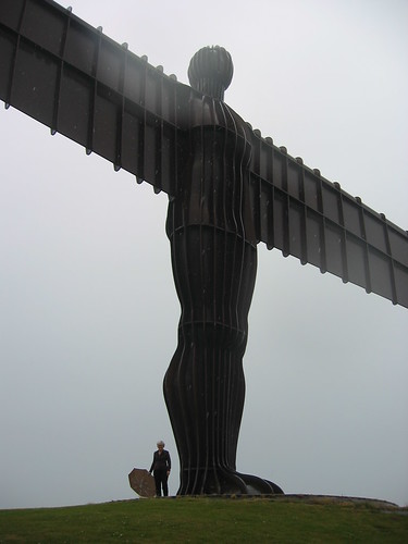 Sarah gardner, Executive Director of IFACCA at the Angel of the North, gateshead, a cultural tour after the third World Summit
