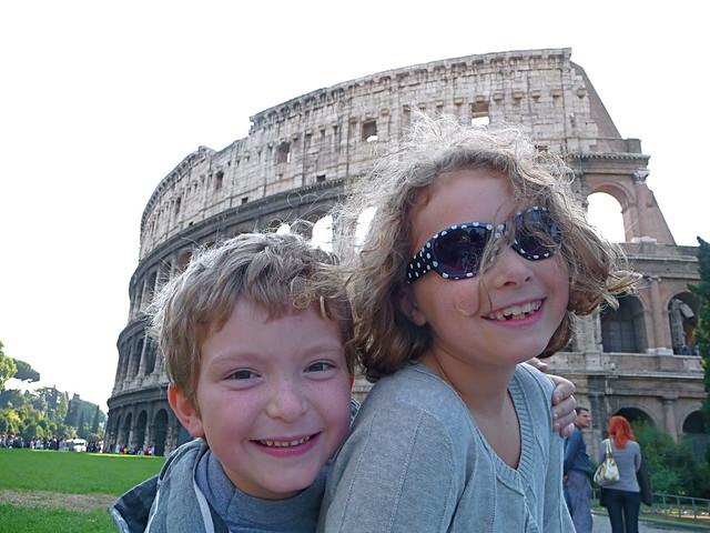 Kids outside Colosseum