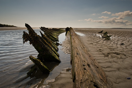 Shipwreck at low tide