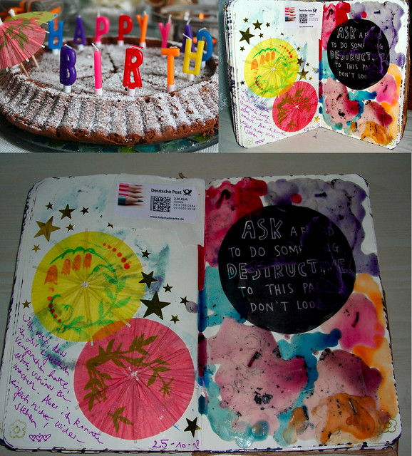 ask a friend to do something destructive to this page - birthday candles & wax (pages 106-107)