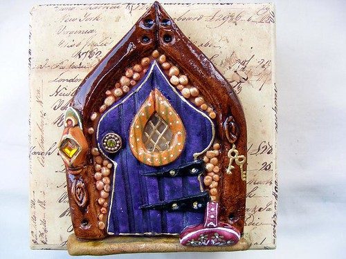 Golden pebbles Salt dough fairy door