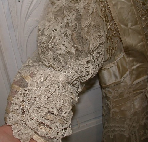 Brussels lace wedding dress sleeve detail