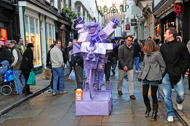 Purple Man, Living Street Art, Sculpture with Passers-by, City of York
