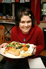 rachel with her wild salmon, roasted vegetables, and…