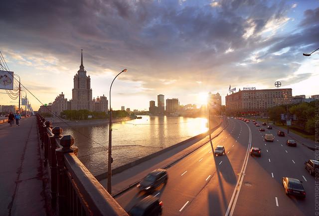 Hotel Ukraine at sunset