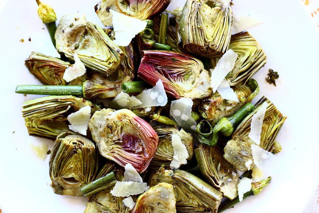 Roasted Baby Artichokes, Onion Scapes