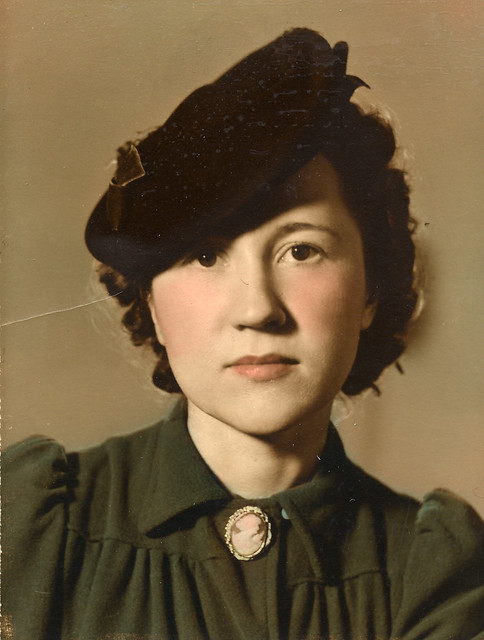 Tinted photograph of a woman in the 1940s